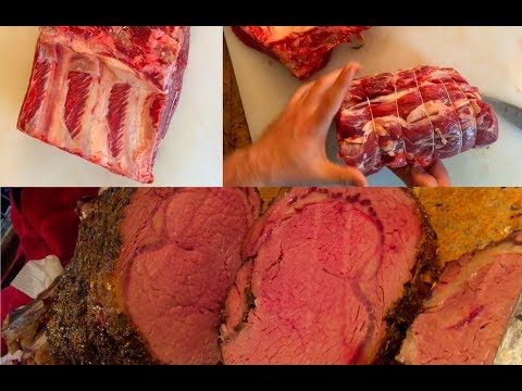 DIY Herb Crusted Prime Rib Roast in Oven - How to Trim & Wrap Bone In or Out Grill or Smoker