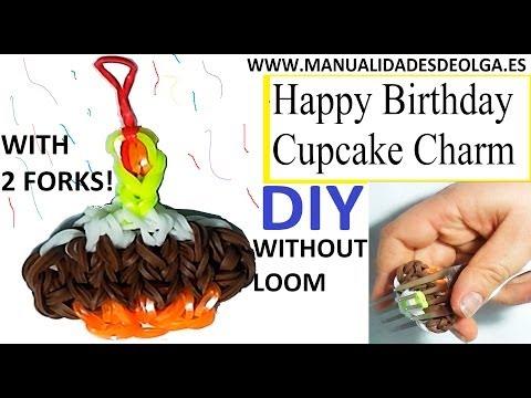 Happy Birthday Cupcake Charm with two forks without Rainbow Loom Tutorial. (Mini Figurine)