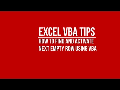 [VBA] How to Find and Activate Next Empty Row in Excel using VBA