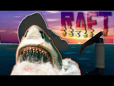 CRAZY SHARK ATTACK! | Base Building and Ocean Survival | Raft Gameplay Episode 1