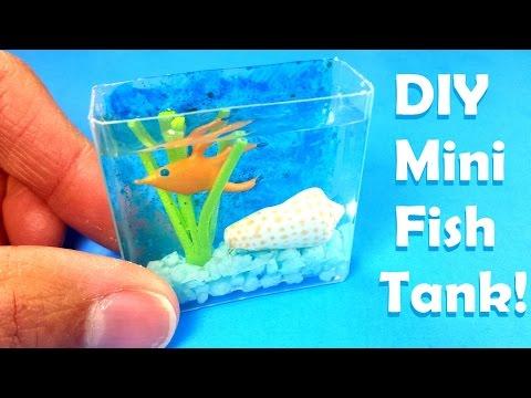 DIY Realistic Miniature Fish Tank Aquarium - with Water!  Dollhouse DIY