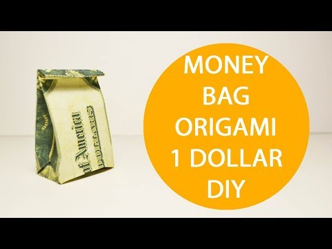 Money Gift Bag Origami 1 Dollar Tutorial DIY Craft Folded No glue
