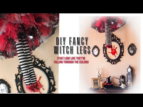 DIY Witch Legs Falling From The Ceiling Halloween Decor Tutorial