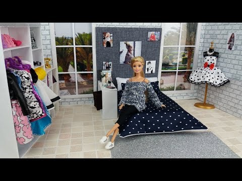 DIY. How to make: doll bedroom decor handmade doll crafts.Barbie Room.Barbie videos