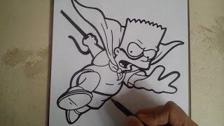 COMO DIBUJAR A BART SIMPSON - BARTMAN / how to draw bart simpson - bartman