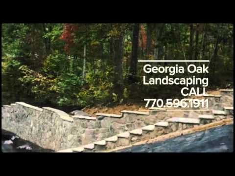 Georgia Oak Landscaping Cobblestone retaining wall, steps...