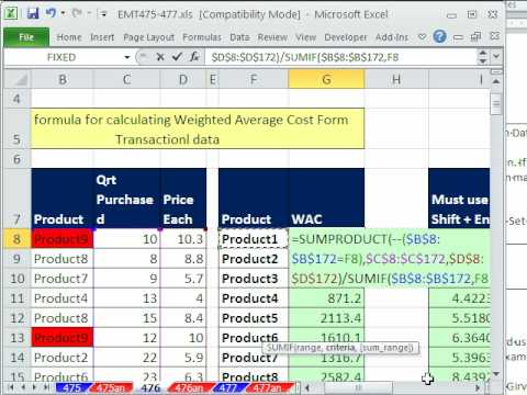 Excel Magic Trick 476: SUMPRODUCT Function for Weighted Average Cost From Transaction Data
