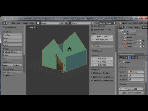Byteweiser Blender Tutorial #1a: Make a Low Poly Cartoon House (Frame, Door, Door Knobs)