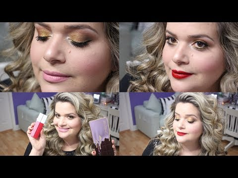 HOLIDAY GLAM HAIR AND MAKEUP TUTORIAL / TOO FACED CHOCOLATE GOLD PALETTE FIRST IMPRESSIONS