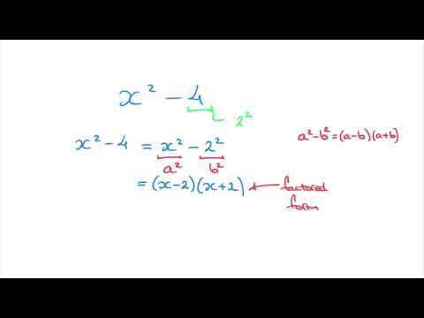Factoring Quadratics - Difference of Two Squares