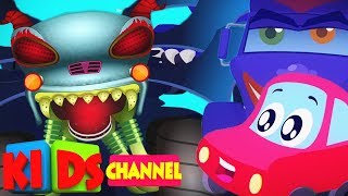 Little red car song Jack Dreamer with Haunted House Monster Trucks