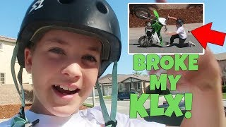 I LOOPED OUT MY NEW KLX 110 AND BROKE IT!