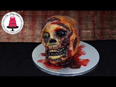 Walking Dead 3D Severed Zombie Skull Cake - How To With The Icing Artist