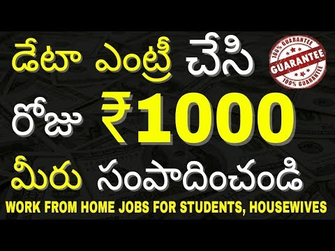 EARN ₹1000 Per Day | ONLINE Data Entry JOBS from Home Without Investment | In TELUGU