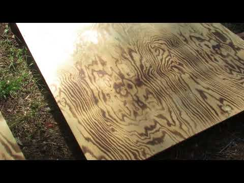 Japanese wood torching technique on sanded plywood flooring