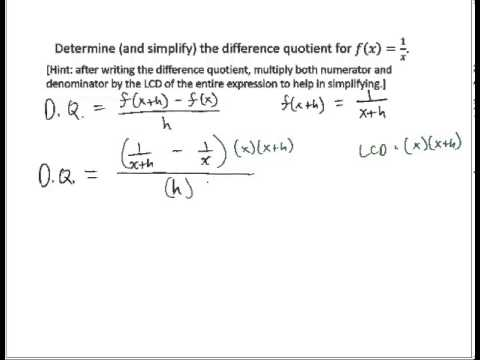 Determine Difference Quotient Rational