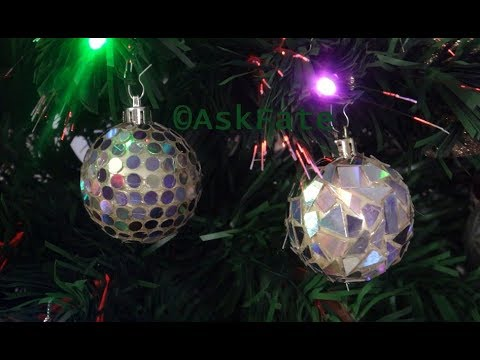 Disco Ball Ornament and Mosaic Ornament out of Recycled CD'S - DIY