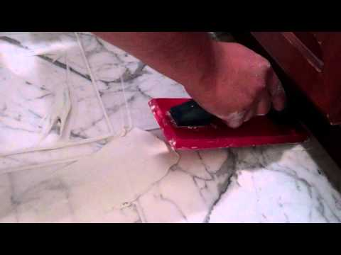 How to regrouting a marble foor - applying the grout