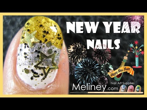 NEW YEARS EVE GRADIENT PARTY NAILS | MELINEY HOW TO EASY BEGINNERS GLITTER NAIL ART