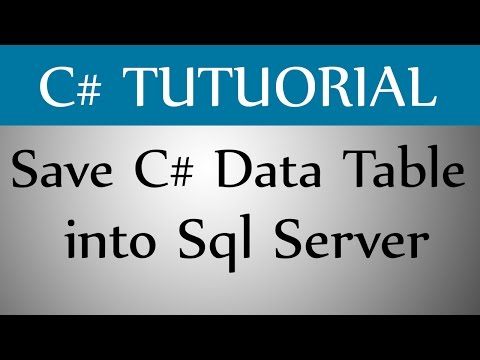 How To Save C# Data Table into Sql Server Table