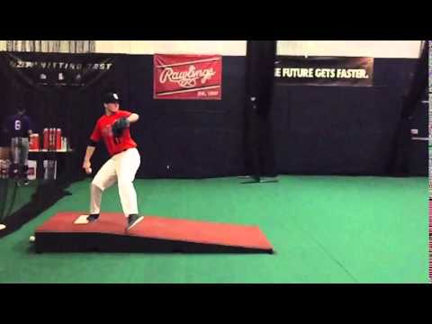 Jarred Wood pitching at PG Pitcher Catcher Showcase