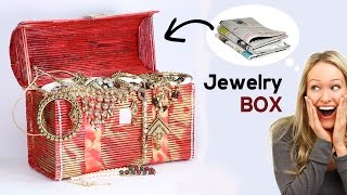 Amazing Jewelry Box from Newspaper | Best Out of Waste Jewellery Box