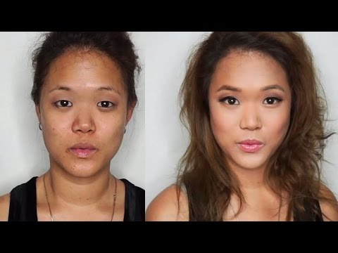 How to put makeup on Monolids + contour an oval face (asian eyes tutorial)