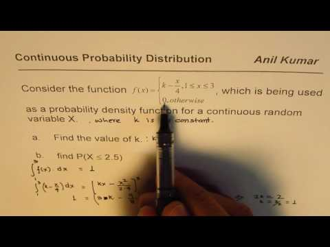 Find the Probability Density Function for Continuous Distribution of Random Variable