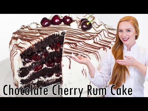 Chocolate Cherry Rum Cake with Meringue Butter Cream