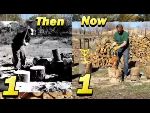 Wood Splitting THEN vs NOW, Which is faster and safer? You Decide. By Good N Useful