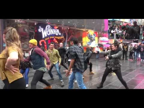 Stanley and Lala's Flash Mob Proposal in Times Square