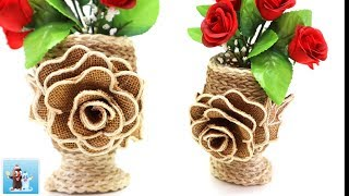 Download Burlap and Jute Flower Vase with Rose Art and Craft Ideas Handcraft Video