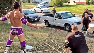 NEIGHBORS WATCH FIGHT IN FRONT YARD! WRESTLING STAR ROBBIE E GOES CRAZY!
