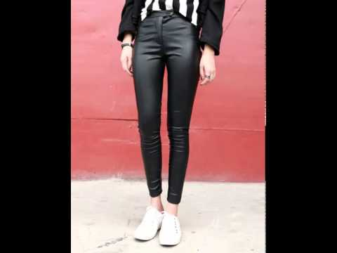 Ultra slim stretch skinny feet leather pants.avi