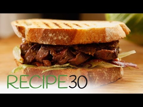 The Ultimate Steak Sandwich with caramelised onions