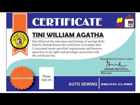 Certificate Design with CorelDraw software (Sewing Courses)