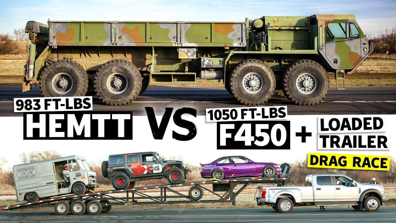 68,000lb Drag Race!? 8x8 HEMTT Races our Ford F-450… Towing THREE Cars // This vs. That