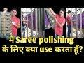 How to silk saree roll press, my Saree roll polishing process, (Hindi)
