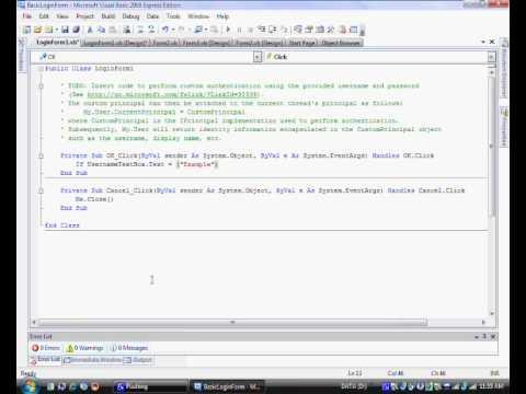 Microsoft Visual Basic 2008 Express Edition Basic Login Form (Part 1)