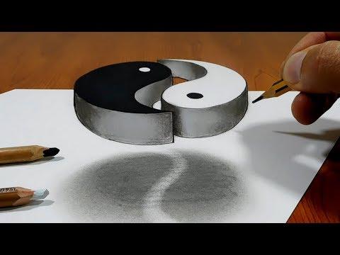 3D Trick Art on Paper   Yin Yang