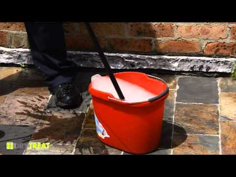Oxy-Klenza™ challenge 1 - cleaning old slate patio