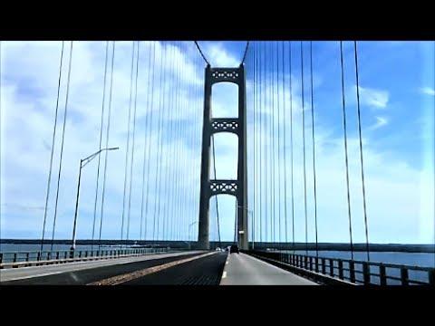 Driving over the Mackinac bridge Upper Peninsula of Michigan UP Suspension Bridge