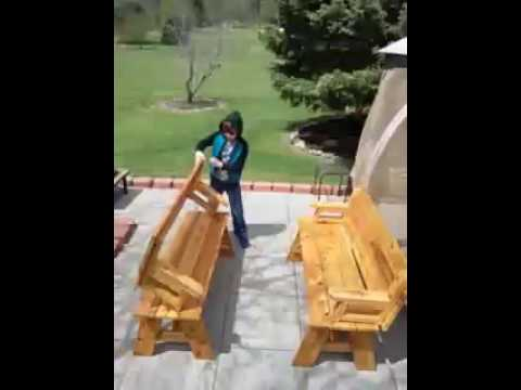 Wood Picnic Table Converts Into Two Wood Benches Incredible