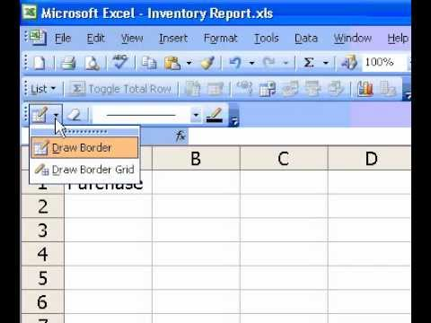 Microsoft Office Excel 2003 Apply cell borders