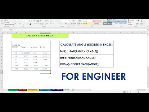 HOW TO CONVERT FROM ANGLE (DEGREE) TO RADIANS IN EXCEL (COS,SIN &TAN)