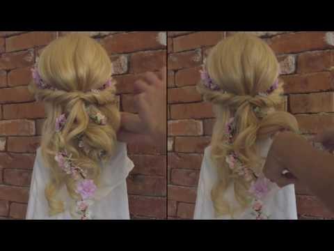 romantic hair style with Magaela Flower Hair Garland