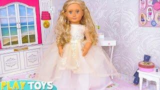 Download AG Baby Doll Beauty Spa Wedding Day Dress Toys! Vestido de casamento Hochzeitskleid فستان باربي Video