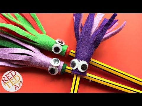 Easy Monster Felt Pencil Topper DIY -  School Supplies - Cute Halloween Monster DIY