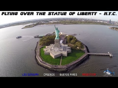 Flying over the Statue of Liberty in New York City