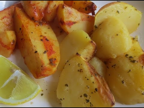 Low Fat Vegan No Oil Greek Lemon Potatoes 2 Versions (Patates Lemonates)